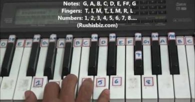 'G' Major Scale - Right hand finger pattern for Single Octave