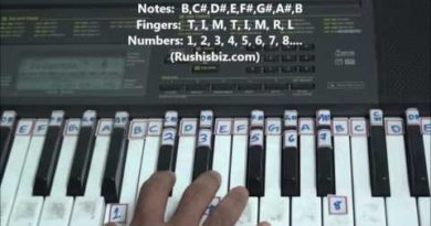 'B' Major Scale - Right hand finger pattern for Single Octave