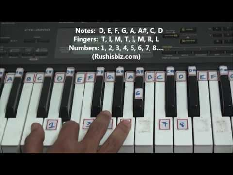 'D' Minor Scale - Right hand finger pattern for Single Octave