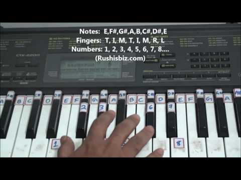 'E' Major Scale - Right hand finger pattern for Single Octave